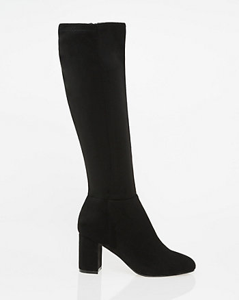 Suede-Like Almond Toe Knee-High Boot