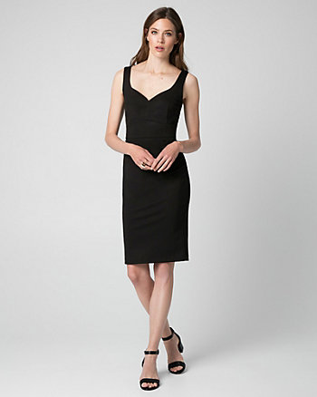 Ponte V-Neck Shift Dress
