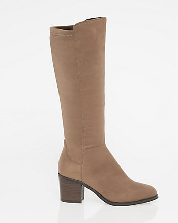 Stretch Suede-Like Almond Toe Midi Boot