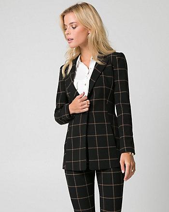 Grid Check Print Double Weave Blazer