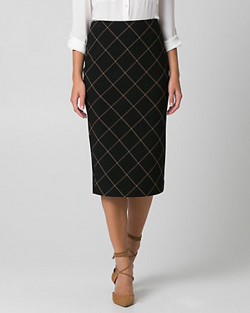 Grid Check Print Double Weave Midi Skirt