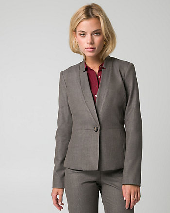 Viscose Blend Inverted Collar Blazer