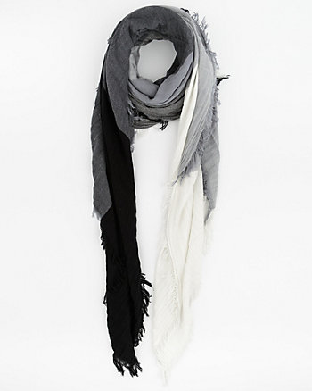 Colour Block Cotton & Viscose Scarf