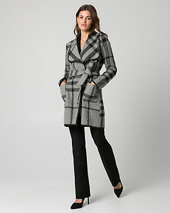 Check Print Wool Blend Open Collar Coat