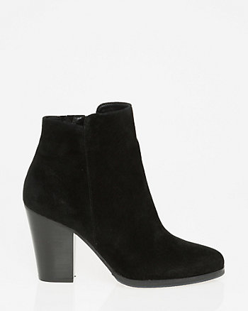 Suede Almond Toe Ankle Boot