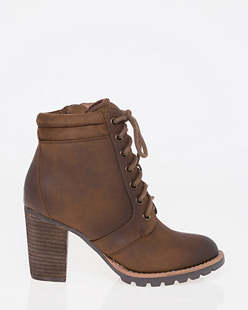 Nubuck Faux Leather Round Toe Bootie