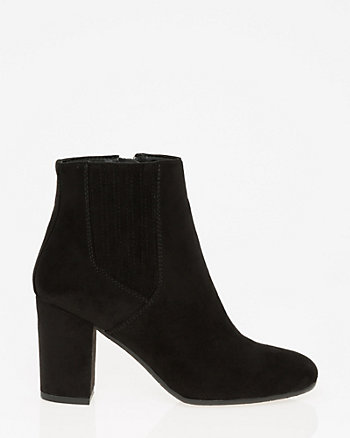 Suede-Like Round Toe Ankle Boot