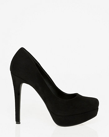 Suede-Like Almond Toe Platform Pump