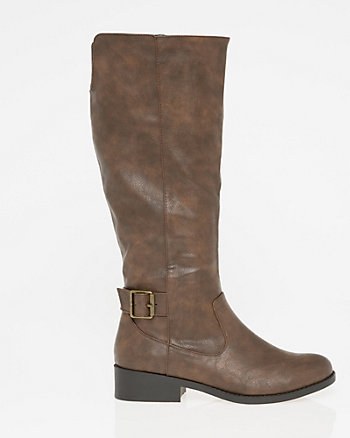 Faux Leather Buckle Riding Boot