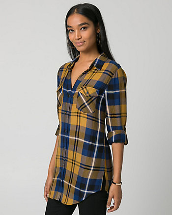 Check Challis Button-Front Tunic