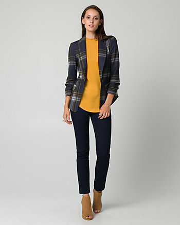 Plaid Ponte Shawl Collar Blazer