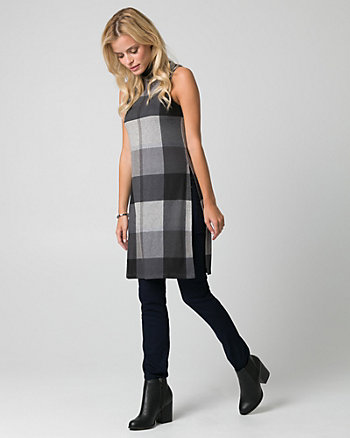 Check Print Cut & Sew Knit Slit Tunic