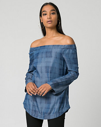 Check Lyocell Off-the-Shoulder Blouse