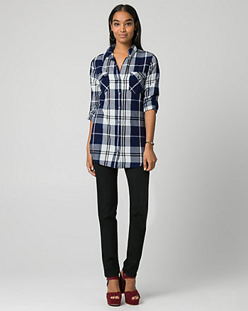 Check Denim Button-Front Tunic