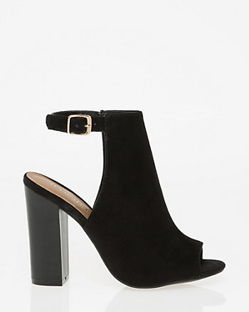 Suede-Like Peep Toe Shootie