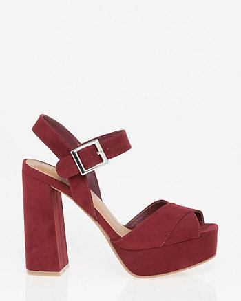 Suede-Like Peep Toe Platform Sandal