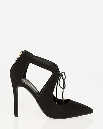 Faux Suede Pointy Toe Ghillie Tie Pump