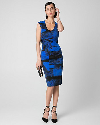 Abstract Print Ponte Shift Dress