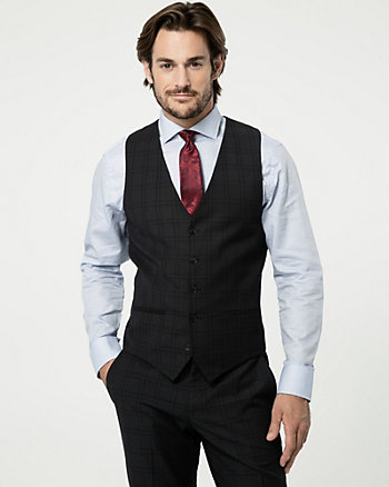 Grid Check Print Wool Blend Vest