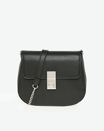 Faux Leather Flapover Shoulder Bag