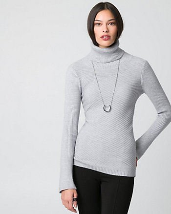 Rib Brushed Viscose Funnel Neck Sweater