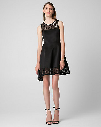 Laser Cut Suba Knit Illusion Dress