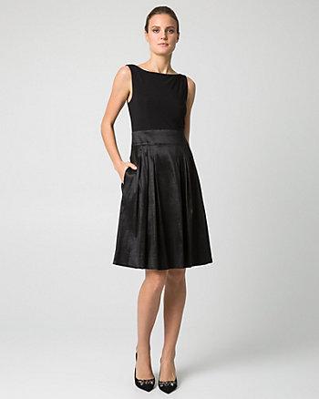 Taffeta & Knit V-Back Cocktail Dress