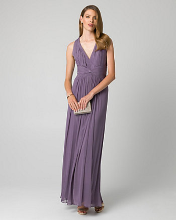 Mesh V-Neck Pleated Gown