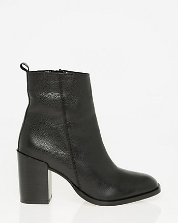 Pebble Leather Square Toe Ankle Boot