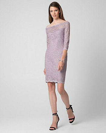 Sparkle Lace Off-the-Shoulder Dress