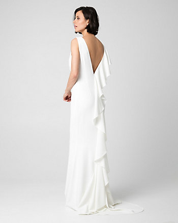 Triacetate V-Neck Ruffle Gown