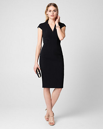 Double Weave V-Neck Shift Dress
