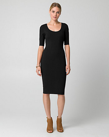 Ponte Scoop Neck Midi Dress