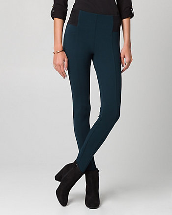 Two-Tone Ponte Skinny Leg Pant