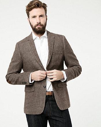 Tonal Herringbone Woven Slim Fit Blazer