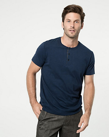Cotton Blend Henley Top