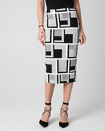 Geo Print Ponte Midi Pencil Skirt