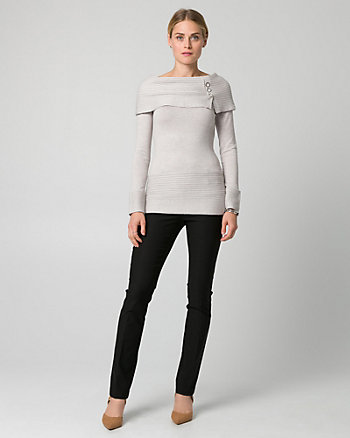 Knit Foldover Neck Sweater