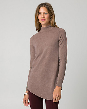 Viscose Blend Mock Neck Tunic Sweater