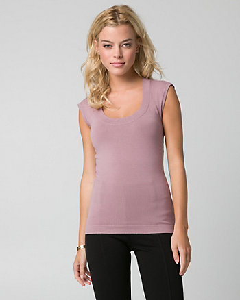 Viscose Blend Scoop Neck Sweater Shell