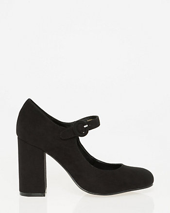 Faux Suede Square Toe Mary Jane Pump