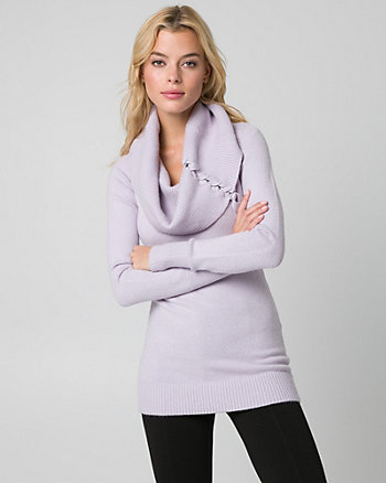 Brushed Viscose Blend Tunic Sweater