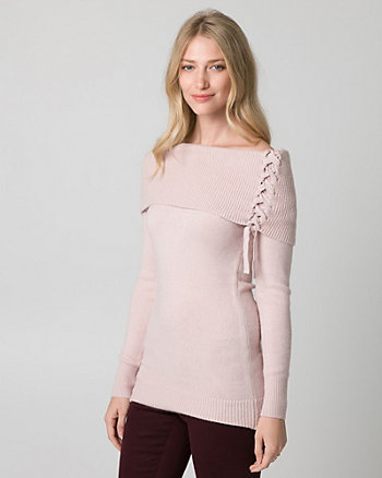 Brushed Viscose Blend Tunic Sweater