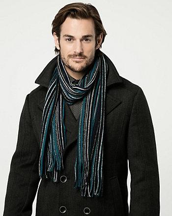 Écharpe rayée en tricot