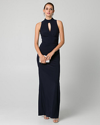 Knit Mock Neck Ruched Gown