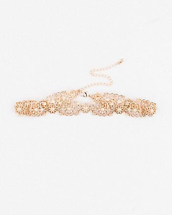 Metal Filigree Choker Necklace