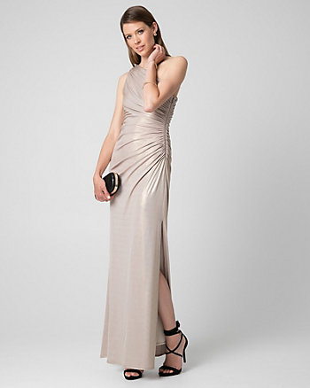 Foil Knit One Shoulder Ruched Gown