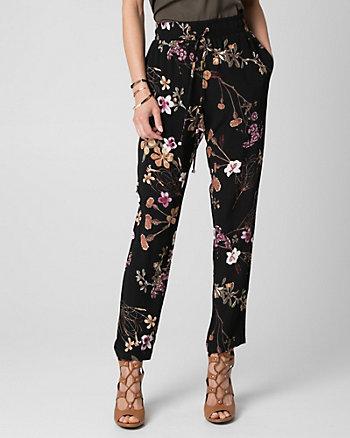Floral Print Viscose Crêpe Slim Leg Pant