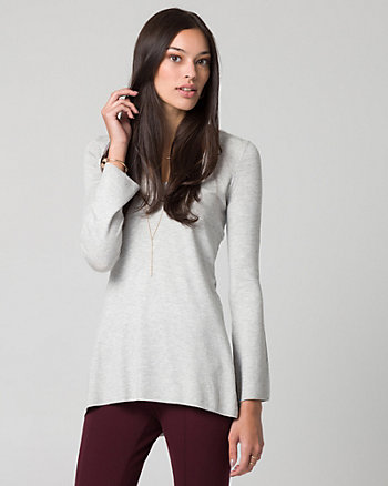 Viscose Blend V-Neck Tunic Sweater