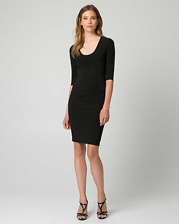Knit Scoop Neck Pleated Shift Dress